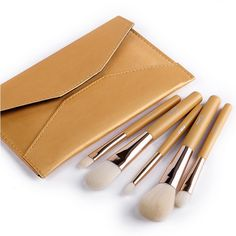 Bangor NEW Deluxe 5 Pc Makeup Brushes Set Cosmetic Kits Golden with Envelope Makeup Bag Pouch