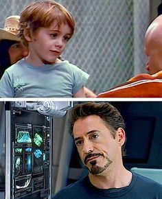 """Some things never change. Robert Downey Jr., age 5, in his father's film """"Pound"""" (1970) and 42 years later in """"The Avengers"""" (2012)."""