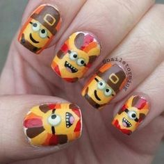 Minion Thanksgiving Nail Art - Ink361 #NightCreamDiy