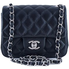 Pre-Owned Chanel Caviar Mini Flap, Black Square 2.55 Classic Bag SHW (€3.335) ❤ liked on Polyvore featuring bags, handbags, black, mini crossbody handbags, mini cross body purse, crossbody handbags, chanel handbags and black crossbody purse