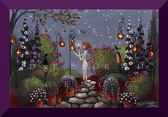 Gourd Lanterns In The Garden   a tiny Garden Gourd by ChicorySkies, $9.00
