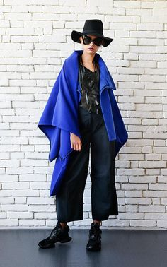 NEW Royal Blue Asymmetric Coat/Extravagant Winter Jacket/Blue
