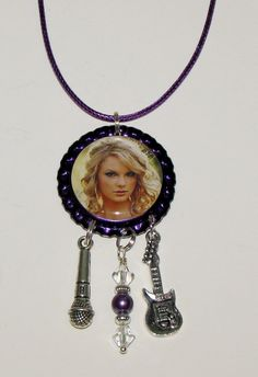 Taylor Swift Purple Metallic Bottle Cap Necklace by DixonsJewelry, $7.99