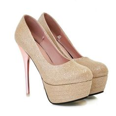 ba70582c127a6 Classy Metallic Gold High Heels Fashion Shoes