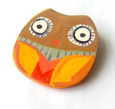 Illustrated wooden brooch wooden illustrated owl. by NomimoArt