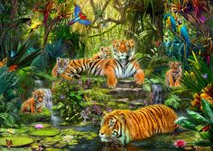 Tiger Family At The Pool Photograph - Tiger Family At The Pool Fine Art Print