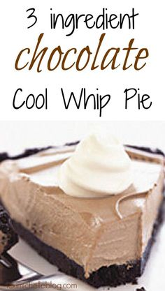 easy desserts This chocolate cool whip pie is only 3 ingredients and tastes amazing. This is the perfect dessert to bring to Thanksgiving or other holidays. Cool Whip Pies, Cool Whip Desserts, Köstliche Desserts, Jello Pie Cool Whip, Cool Whip Cookies, Nutella Cool Whip Pie, Yummy Quick Desserts, Cool Whip Frosting, Awesome Desserts