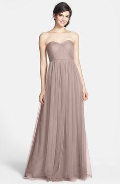 Jenny Yoo 'Aidan' Convertible Strapless Chiffon Gown - Nordstrom - ethical and environmentally friendly Tulle Dress, Strapless Dress Formal, Mob Dresses, Formal Dresses, Evening Dresses, Annabelle Dress, Grey Bridesmaid Dresses, Blush Dresses, Wedding Bridesmaids