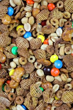 Sweet & Salty Snack Mix — Used twice the Cheerios and chez mix with same amt if butter/sugar mix. Yummy!