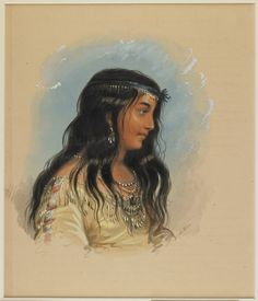 Alfred Jacob Miller (American, A Young Woman of the Flat Head Tribe, watercolor heightened with white on paper, H: 11 x W: 9 in. x 24 cm) The Walters Art Museum, Baltimore Native American Women, Native American Indians, Native Americans, Jacob Miller, Indian Prints, Mountain Man, Women In History, American Artists, Art Google