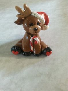 Happy little Polymer clay reindeer ornament by LaposLewisCreations