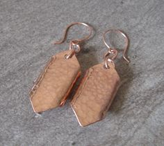 "Hammered Copper ""Shield"" Earrings  - (2-270) by PurpleRavenBoutique on Etsy"