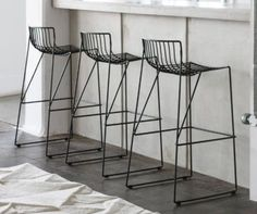 black wire chairs