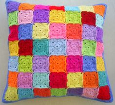 colorful granny square cushion cover / pillow by handmadebyria