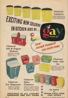 Why, oh why, did they stop making these?!!! #vintage #ad #1950s #kitchen #canisters #decor #kitsch
