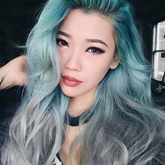 Perfect combo! @estherryi with Lunar Tides Sea Witch and Silver Lining Hair Dye   #pastel #hair #dye #color #teal #mint #lunar #tides #silver #ombre