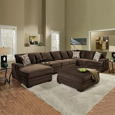Myco Furniture AM3500 Waverly 5-Piece Sectional and Ottoman