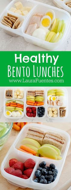 Healthy Bento Lunches   The options are endless, but here are a few ways we love to eat our veggies!