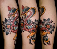 Black Flower and Snake With Dagger Tattoo On Leg