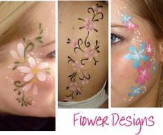 collection of three flower themed body painting pictures.