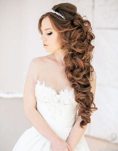 down wedding hairstyles for long hairs with bridal headpieces