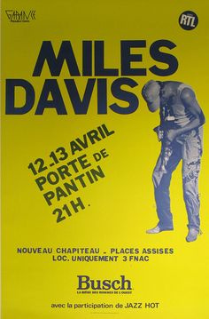Miles Davis Authentic Vintage Poster by Anonymous Qualifies for free shipping! This bold Miles Davis Poster was printed in 1983 for a Miles Davis show in France. It's a classic example of modern music