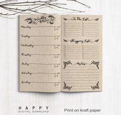 Midori Weekly Planner Inserts - Traveler's Notebook Regular Plus Bullet Journal Book, Planner Bullet Journal, Bullet Journal Layout, Journal Notebook, Journal Pages, Planner Pdf, Weekly Planner Printable, Planner Inserts, Travelers Notebook