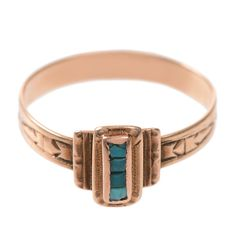 Antique Turquoise and 14 KT Rose Gold Ring