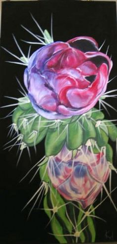 Cholla Flower, Original Acrylic On Canvas Close Up Painting Of Cholla Flower, Black Background