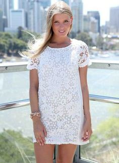 White Lace Front Dress