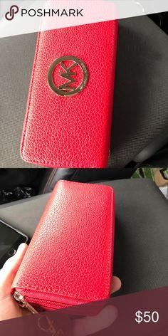 Michael Kors wrist purse Red leather women's MK wallet Michael Kors Bags Clutches & Wristlets
