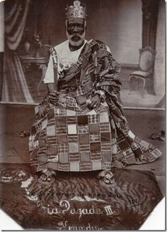 """Ewe chief, Ghana, circa 1929. The first caption, apparently contemporaneous with the print, reads """"Fia Dagadu III, Kpandu"""", while the second, written in ink, reads """"le seigneur de Kpandou, 1929."""" On the reverse is the photographer's stamp """"Louis A. Mensah, Photographer."""" Author's collection."""