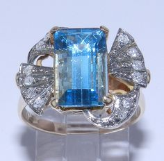 Antique Vintage 14K Rose Gold Diamond & Aquamarine ring by GalaxyGems