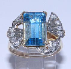 Antique 14K rose gold diamond  aquamarine ring