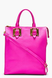 Pink Grained Leather Tote Bag