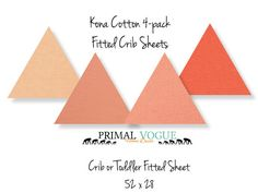 "4 Pack of Kona Fitted Sheet for Infants and Toddlers by Primal Vogue™ - 52"" x 28"" - Ice Peach, Peach, Cremsicle, Nectarine - 100% Cotton"