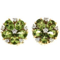 Pear Shaped Peridot Diamond Gold Cluster Earrings (40,040 GTQ) ❤ liked on Polyvore featuring jewelry, earrings, multiple, earring jewelry, gold diamond jewelry, diamond jewelry, round earrings and gold earrings