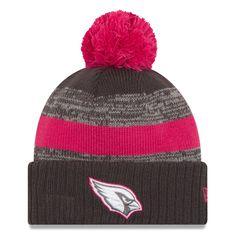 200b03b60d Arizona Cardinals New Era Breast Cancer Awareness Sideline Cuffed Pom Knit  Hat - Heather Gray,