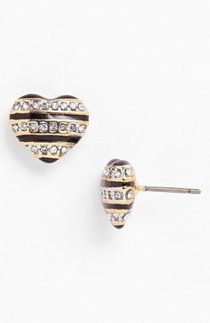 Juicy Couture 'Mad for Mod' Stripe Heart Stud Earrings available at #Nordstrom