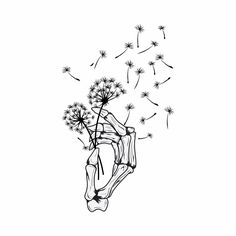 Absolutely love this piece. Going to be posting a few pieces this week so stay tuned. This skeleton hand and dandelion are the perfection combination of simplicity and intrigue. Skeleton Hands Drawing, Skeleton Hand Tattoo, Skeleton Flower, Skull Tattoos, Mini Tattoos, Body Art Tattoos, Leg Tattoos, Tatoos, Side Hand Tattoos