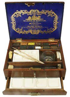 I wonder if Howard Carter used something like this to record any Egyptian archaeology sites. // Winsor  Newton  Mahogany Watercolour  Caddy Box    c1890