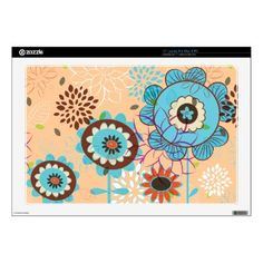 Cute retro turquoise blue peach floral pattern laptop skin by iPhone_iPad_Case
