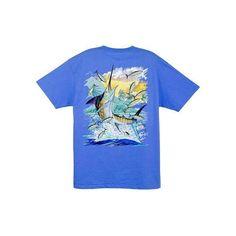 4b6dab94ab4d Guy Harvey Island Marlin Men's Back-Print Tee w/ Pocket in Orange,.