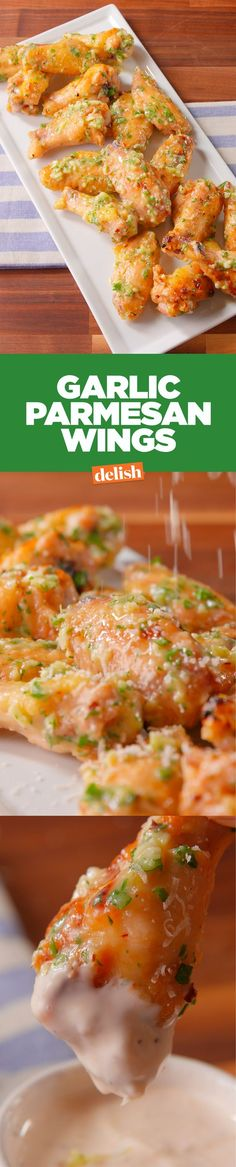 These garlic parmesan wings are so crispy, you'll forget they're homemade. Get the recipe on Delish.com.