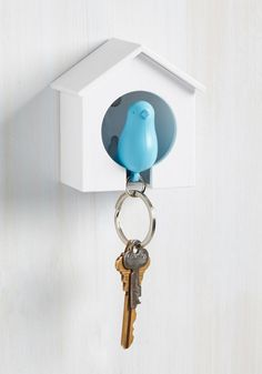 Home Tweet Home Key Holder in Sky. There are certain things you always do before you leave the house - grab your phone, snag your wallet, and go on a mad hunt for your keys. #white #modcloth