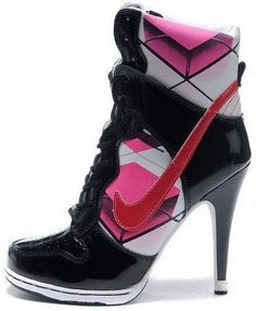 low priced 098bf a6680 Womens Patent Black Hot Pink White and Red Nike Heels Dunk SB High High  Heels Hot