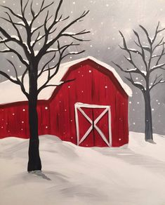 DIY Abstract Heart Painting and a Fun Paint Party Snowy Barn from Canvas and Chardonnay, Rochester MN - suggested to maybe add a wreath Easy Canvas Painting, Winter Painting, Simple Acrylic Paintings, Winter Art, Diy Canvas, Diy Painting, Painting & Drawing, Watercolor Paintings, Canvas Art