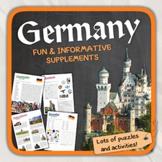 Germany (country study) from Thematic Worksheets on TeachersNotebook.com -  (13 pages)  - Let's get to know Germany! World International Days, Community Workers, 5th Grades, Getting To Know, Girl Scouts, Learning Activities, Social Studies, Geography, Worksheets