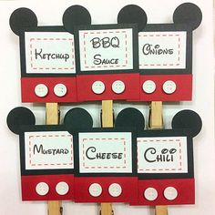 12 Mickey Mouse party Food Labels/ Place by BailensPerfectParty