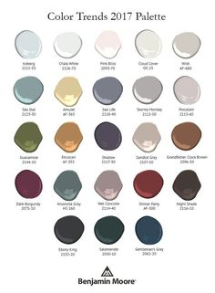 2017 Benjamin Moore colour of the year palette